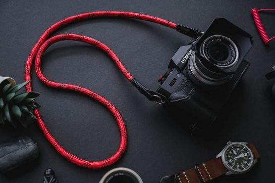RED WITH BLACK DOTTED HANDMADE NYLON ROPE CAMERA