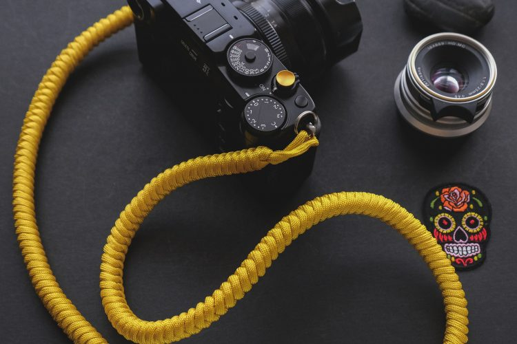 the ronen strap - yellow handmade paracord camera strap
