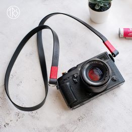 The ronen strap leather red black color